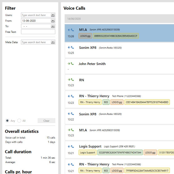 Screenshot of Logis Solutions Voice interface